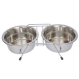 Stainless Steel Double Diner with Wire Stand for Dog or Cat - 8 oz