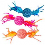 Ethical Cat - Elasteeez Ball / Feathers Cat Toy - Assorted - 6 In