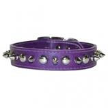 """Leather Brothers - 1/2"""" Regular Leather Spike & Stud - Purple - 10"""" Length"""