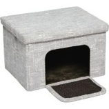 Midwest Homes For Pets -Curious Cat Cube Cottage - Silver - 17In X 13In X 1