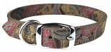 """Leather Brothers - 1/2"""" Regular Paisley Leather Collar - Chocolate - 12"""" Length"""