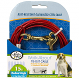 Four Paws - Dog Tie Out Cable - Medium Weight - Red - 15 Feet