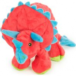Quaker Pet Group -Godog Dinos Frills Durable Plush Squeaker Dog Toy - Teal - Small