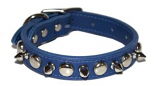 "Leather Brothers - 3/4"" Regular Leather Spike & Stud - Blue - 20"" Length"