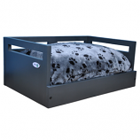 Sassy Paws Wooden Pet Bed with Paw Printed Comfy Cushion - Black - Medium