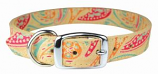 """Leather Brothers - 1"""" Regular Paisley Leather Collar - Sand - 26"""" Length"""