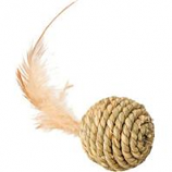Ethical Cat - Seagrass Ball W/Feathers Cat Toy - Assorted - 2.5 In