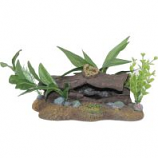 Blue Ribbon Pet Products -Exotic Environments Log Cavern with Plants - Small