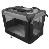 Multipurpose Pet Soft Crate with Fleece Mat - Black/Gray - Medium
