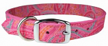 """Leather Brothers - 3/4"""" Regular Paisley Leather Collar - Pink - 18"""" Length"""