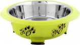 Iconic Pet - Color Splash - Designer Oval Fusion Bowl - Small - Green - for Dog/Cat - 15 Oz - 2 Cups